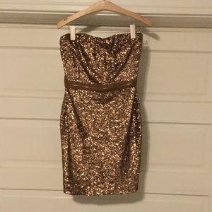 Dress the Population Brown Sequin Strapless Dress